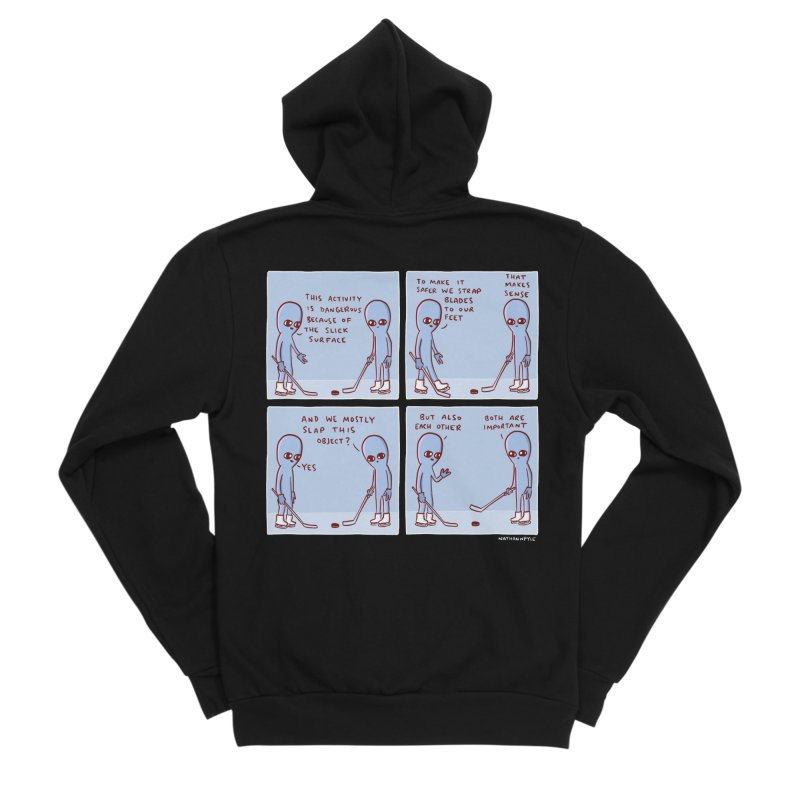 STRANGE PLANET: THIS ACTIVITY IS DANGEROUS BECAUSE OF THE SLICK SURFACE Men's Sponge Fleece Zip-Up Hoody by Nathan W Pyle