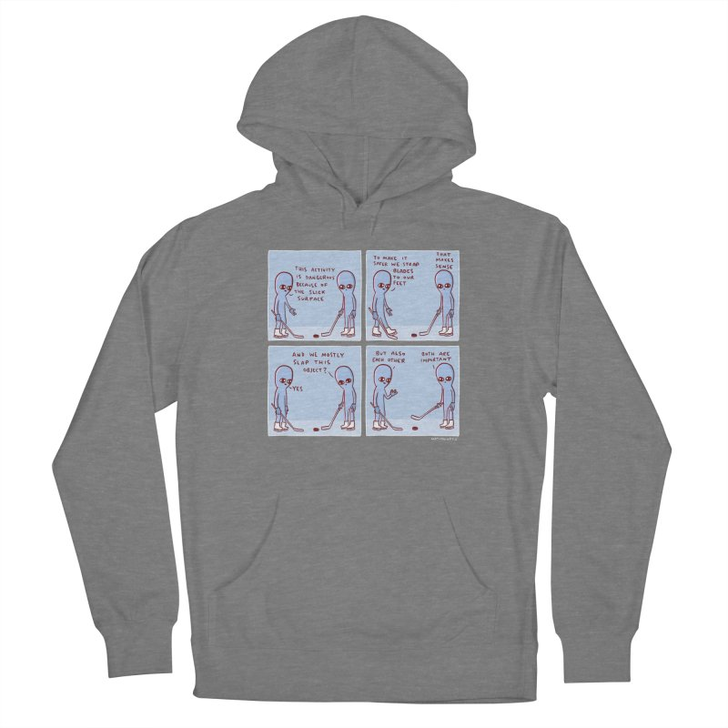 STRANGE PLANET: THIS ACTIVITY IS DANGEROUS BECAUSE OF THE SLICK SURFACE Women's Pullover Hoody by Nathan W Pyle