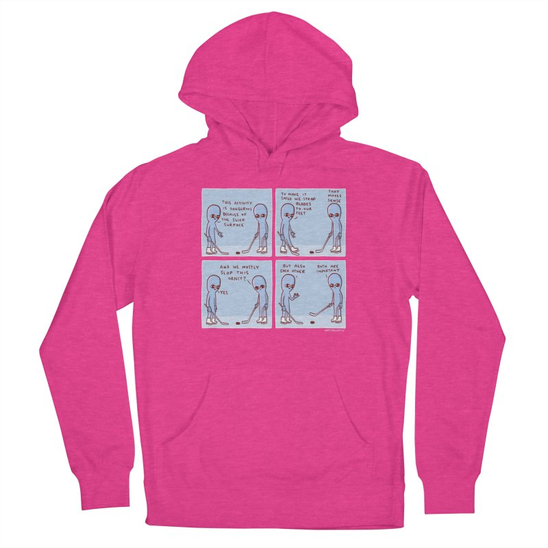 STRANGE PLANET: THIS ACTIVITY IS DANGEROUS BECAUSE OF THE SLICK SURFACE Men's Pullover Hoody by Nathan W Pyle