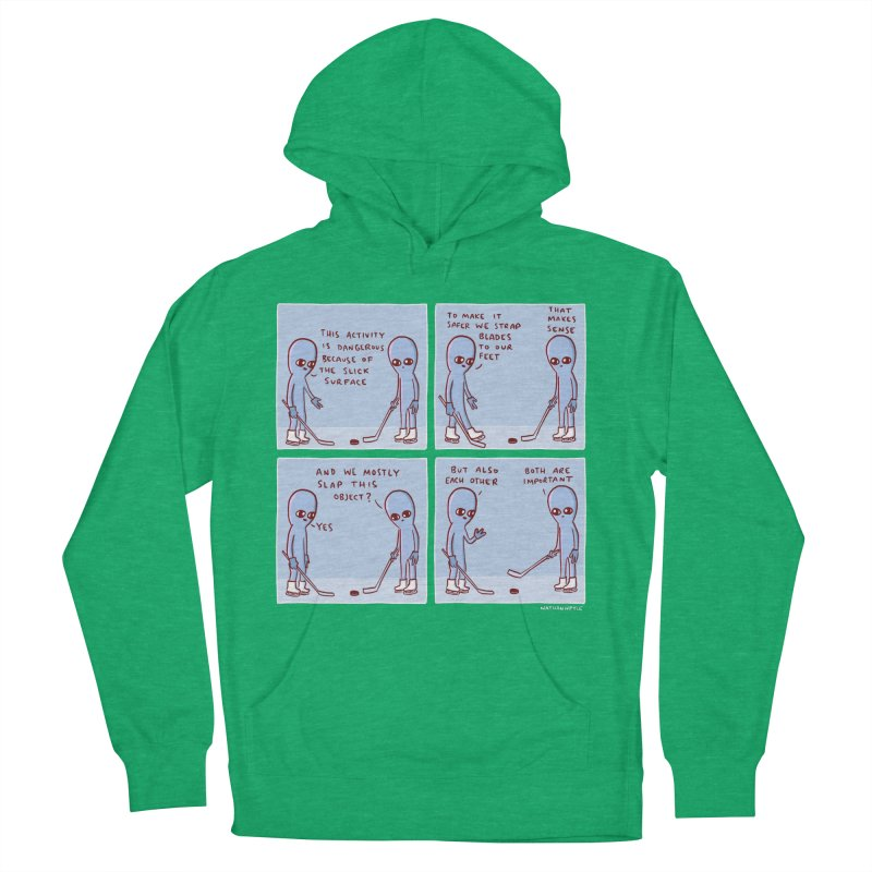 STRANGE PLANET: THIS ACTIVITY IS DANGEROUS BECAUSE OF THE SLICK SURFACE Women's French Terry Pullover Hoody by Nathan W Pyle
