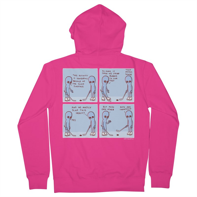 STRANGE PLANET: THIS ACTIVITY IS DANGEROUS BECAUSE OF THE SLICK SURFACE Men's French Terry Zip-Up Hoody by Nathan W Pyle