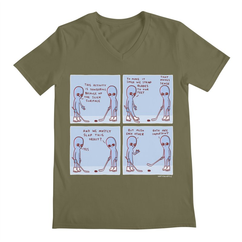 STRANGE PLANET: THIS ACTIVITY IS DANGEROUS BECAUSE OF THE SLICK SURFACE Men's Regular V-Neck by Nathan W Pyle