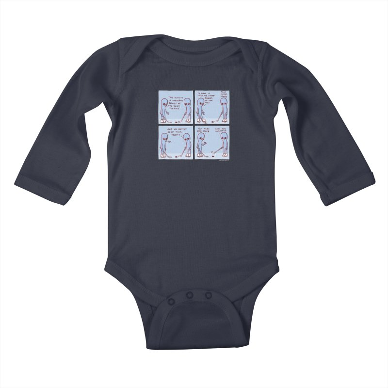 STRANGE PLANET: THIS ACTIVITY IS DANGEROUS BECAUSE OF THE SLICK SURFACE Kids Baby Longsleeve Bodysuit by Nathan W Pyle