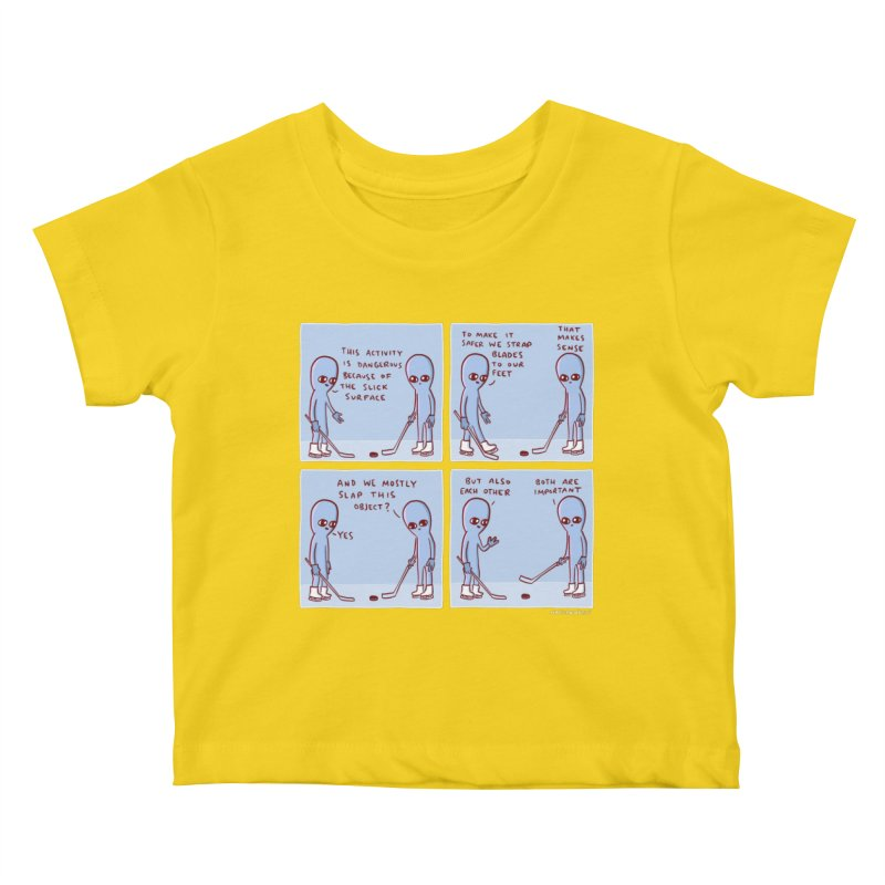 STRANGE PLANET: THIS ACTIVITY IS DANGEROUS BECAUSE OF THE SLICK SURFACE Kids Baby T-Shirt by Nathan W Pyle