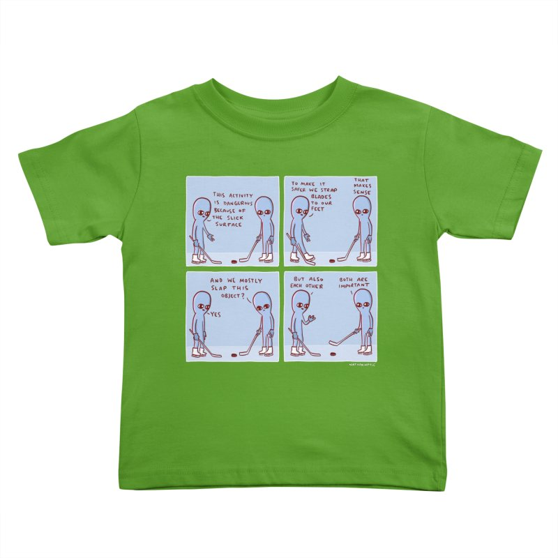 STRANGE PLANET: THIS ACTIVITY IS DANGEROUS BECAUSE OF THE SLICK SURFACE Kids Toddler T-Shirt by Nathan W Pyle