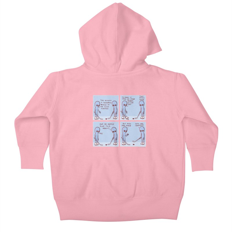 STRANGE PLANET: THIS ACTIVITY IS DANGEROUS BECAUSE OF THE SLICK SURFACE Kids Baby Zip-Up Hoody by Nathan W Pyle