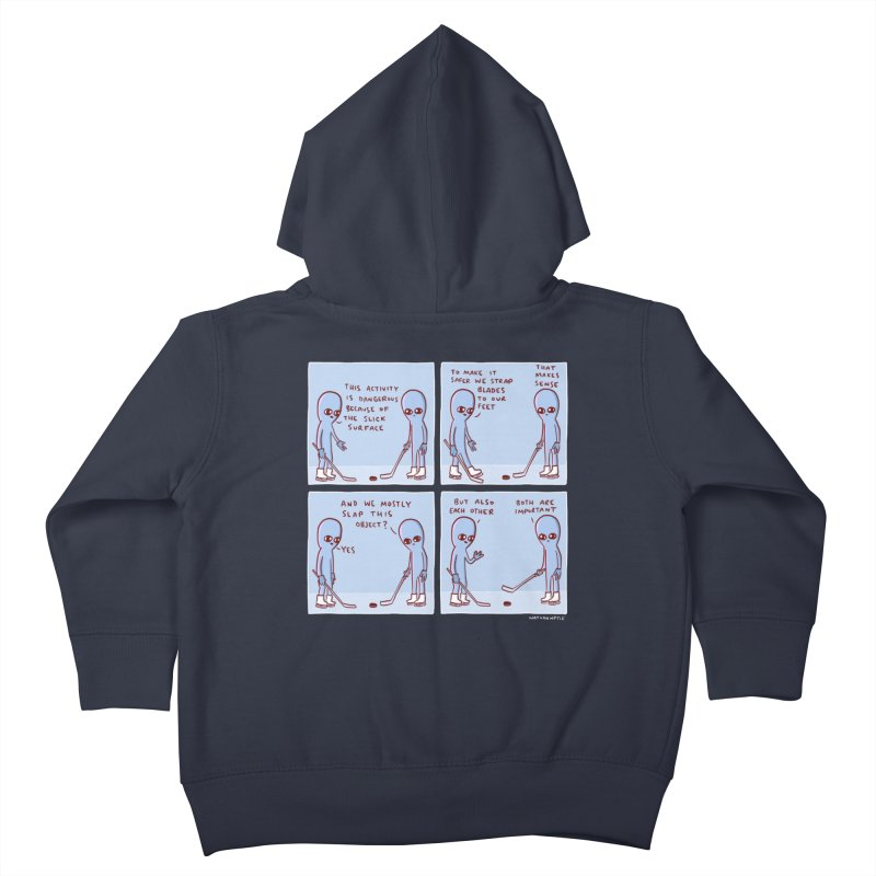 STRANGE PLANET: THIS ACTIVITY IS DANGEROUS BECAUSE OF THE SLICK SURFACE Kids Toddler Zip-Up Hoody by Nathan W Pyle