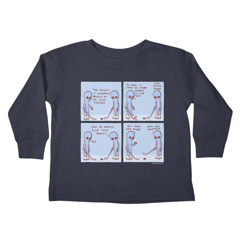 STRANGE PLANET: THIS ACTIVITY IS DANGEROUS BECAUSE OF THE SLICK SURFACE Kids Toddler Longsleeve T-Shirt by Nathan W Pyle