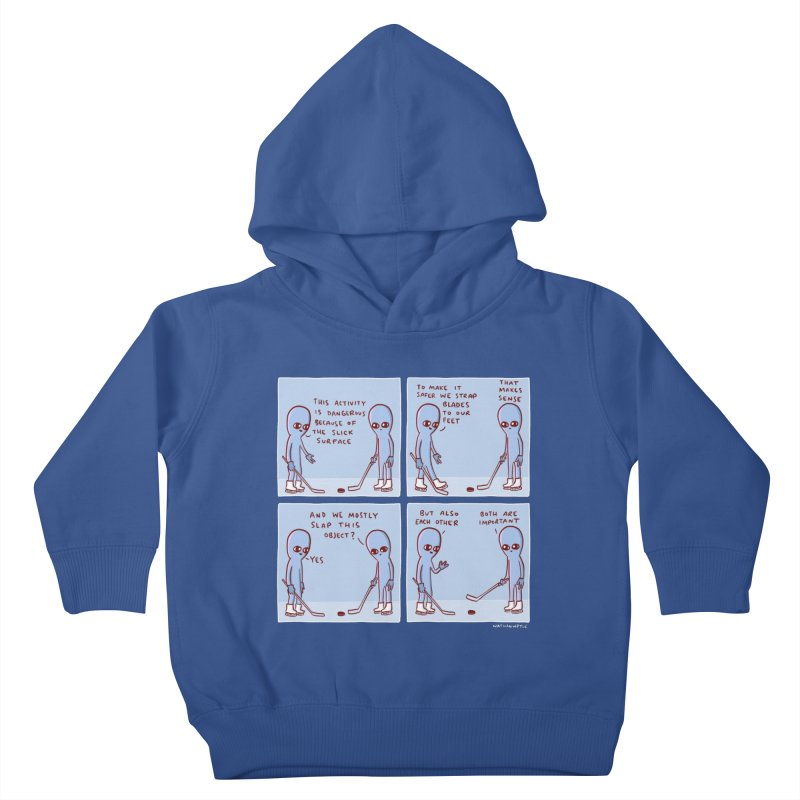 STRANGE PLANET: THIS ACTIVITY IS DANGEROUS BECAUSE OF THE SLICK SURFACE Kids Toddler Pullover Hoody by Nathan W Pyle