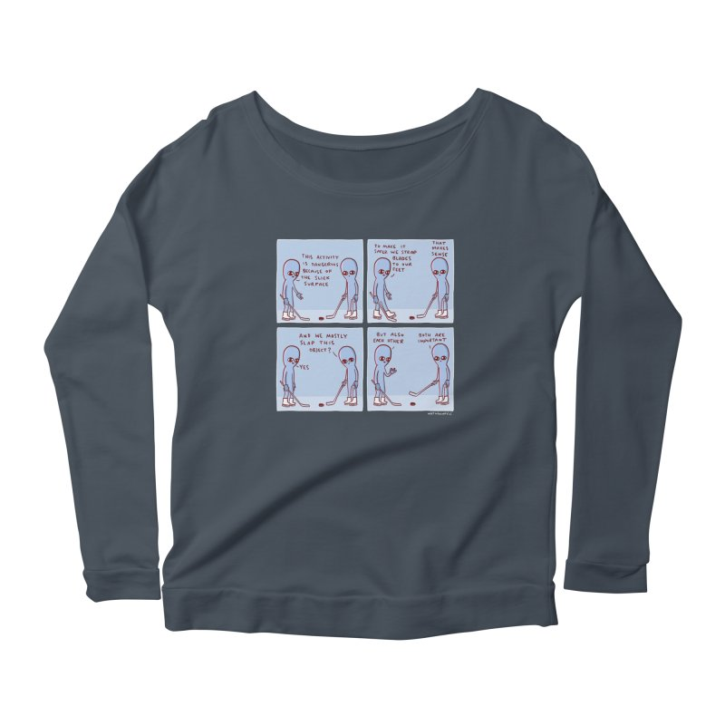 STRANGE PLANET: THIS ACTIVITY IS DANGEROUS BECAUSE OF THE SLICK SURFACE Women's Scoop Neck Longsleeve T-Shirt by Nathan W Pyle