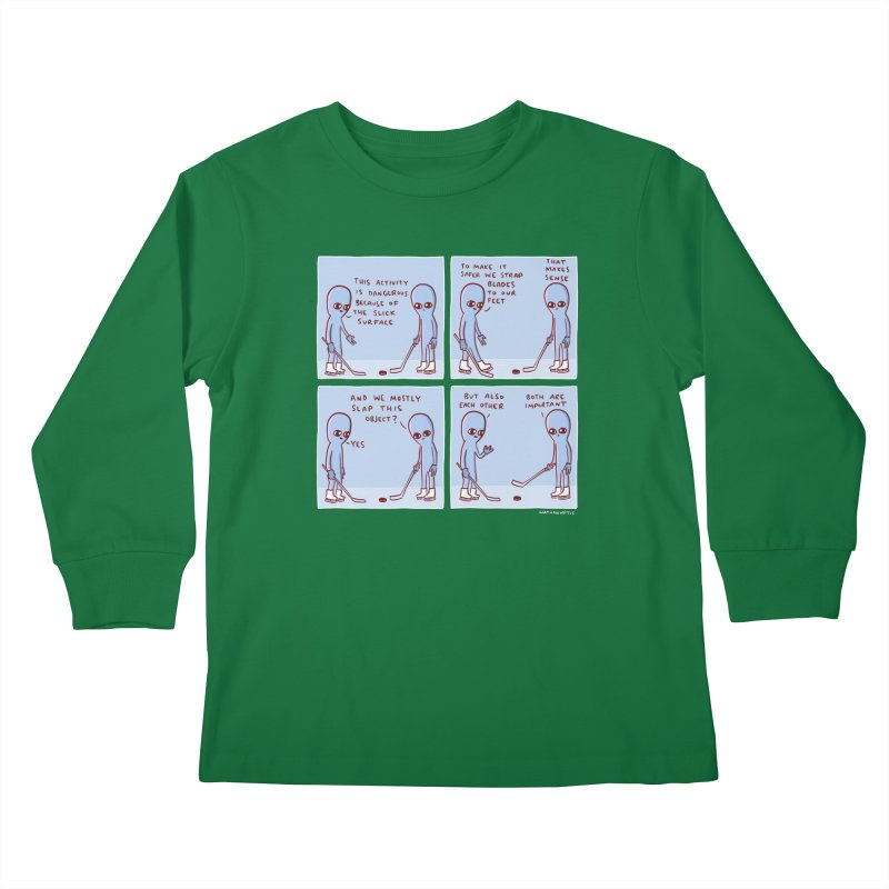 STRANGE PLANET: THIS ACTIVITY IS DANGEROUS BECAUSE OF THE SLICK SURFACE Kids Longsleeve T-Shirt by Nathan W Pyle