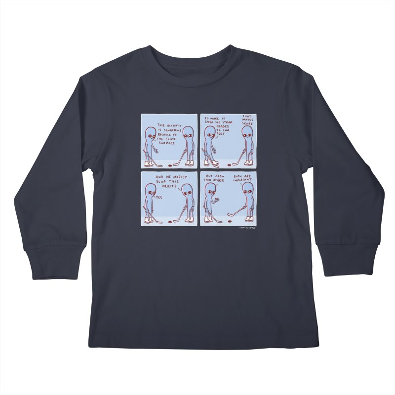 STRANGE PLANET: THIS ACTIVITY IS DANGEROUS BECAUSE OF THE SLICK SURFACE Kids Longsleeve T-Shirt by Nathan W Pyle Shop | Strange Planet Store | Thread