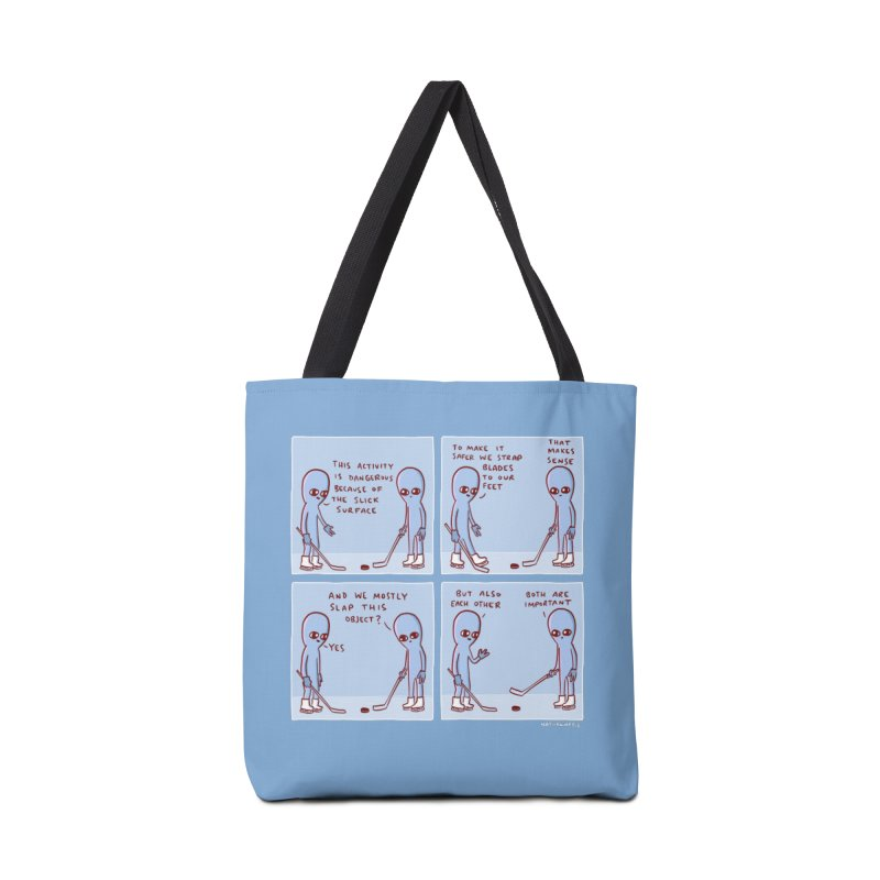 STRANGE PLANET: THIS ACTIVITY IS DANGEROUS BECAUSE OF THE SLICK SURFACE Accessories Tote Bag Bag by Nathan W Pyle