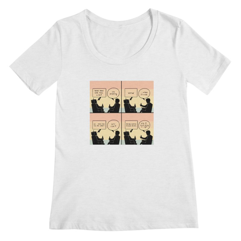 HUMAN Women's Regular Scoop Neck by Nathan W Pyle
