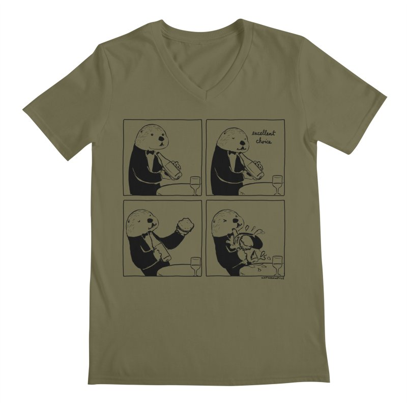 EXCELLENT CHOICE / OTTER Men's Regular V-Neck by Nathan W Pyle
