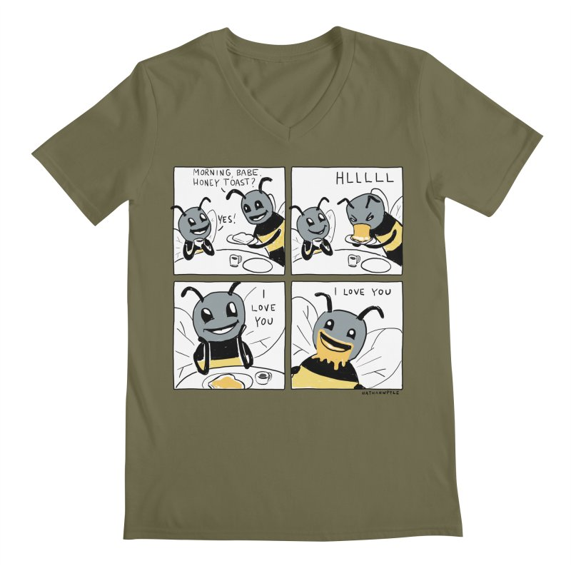 HONEY Men's Regular V-Neck by Nathan W Pyle