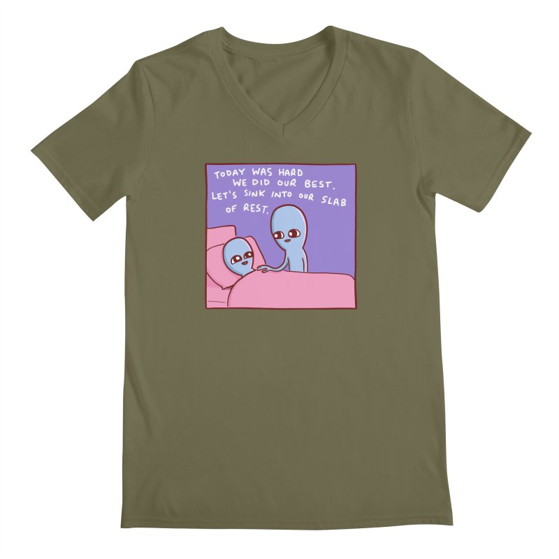 STRANGE PLANET SPECIAL PRODUCT: TODAY WAS HARD WE DID OUR BEST Men's V-Neck by Nathan W Pyle