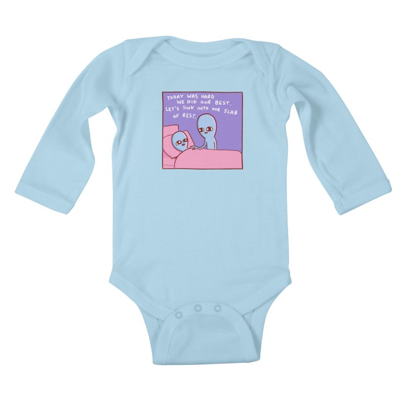 STRANGE PLANET SPECIAL PRODUCT: TODAY WAS HARD WE DID OUR BEST Kids Baby Longsleeve Bodysuit by Nathan W Pyle