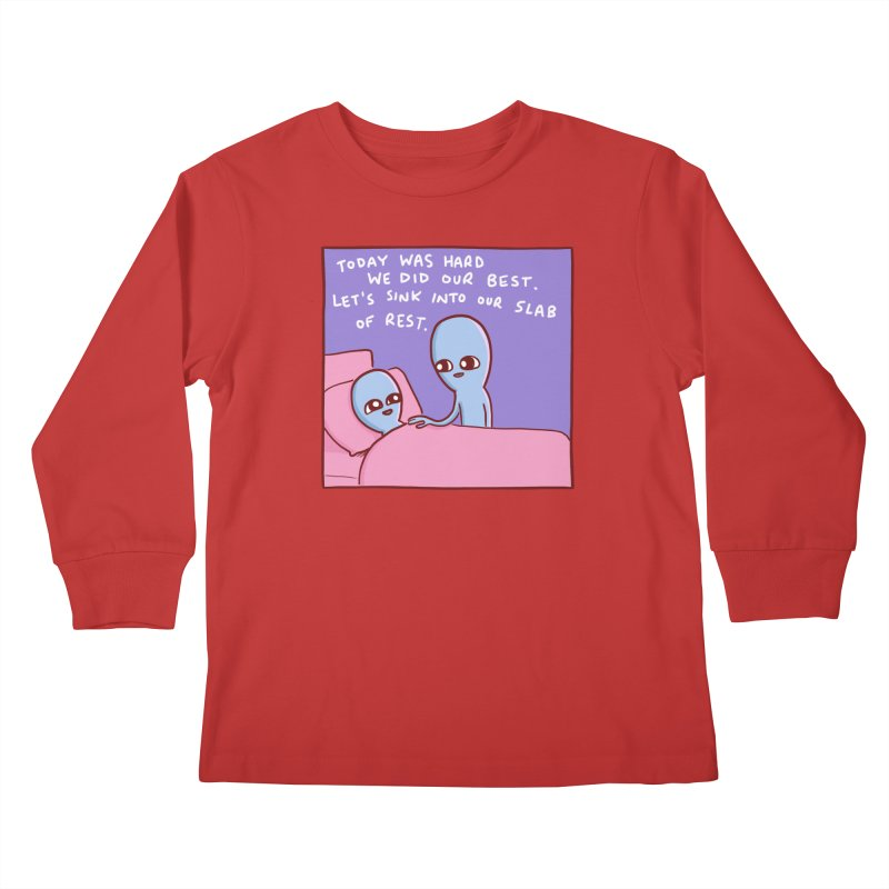 STRANGE PLANET SPECIAL PRODUCT: TODAY WAS HARD WE DID OUR BEST Kids Longsleeve T-Shirt by Nathan W Pyle