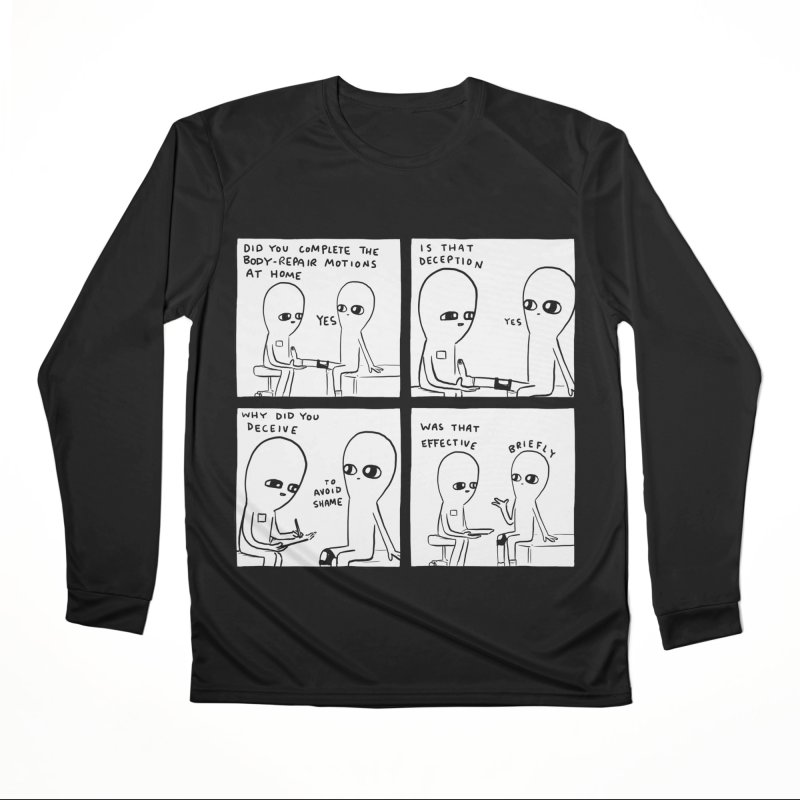 STRANGE PLANET BLACK AND WHITE: BODY REPAIR MOTIONS / IS THAT DECEPTION Women's Performance Unisex Longsleeve T-Shirt by Nathan W Pyle