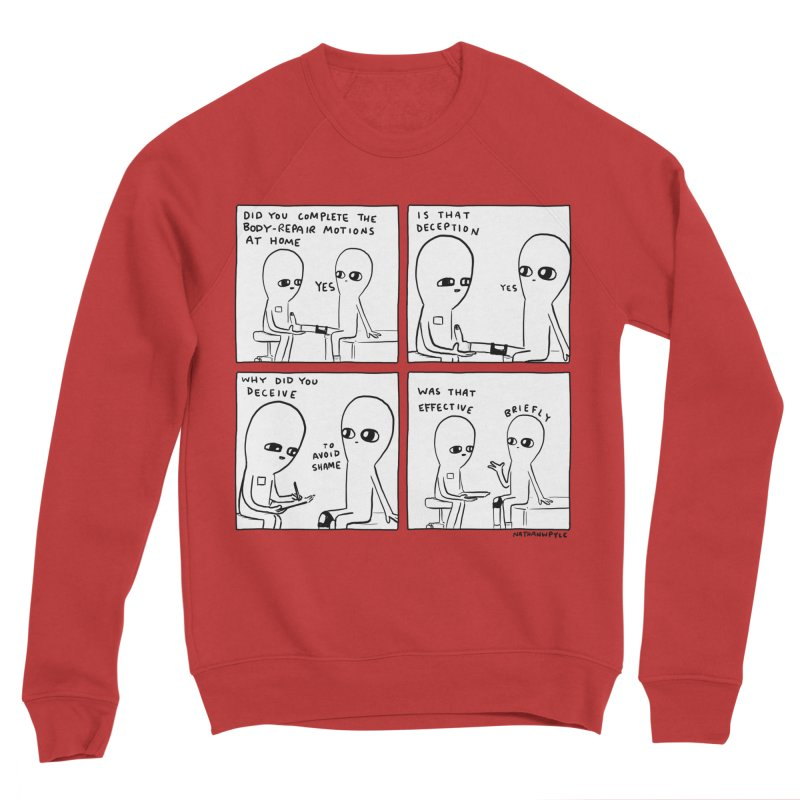 STRANGE PLANET BLACK AND WHITE: BODY REPAIR MOTIONS / IS THAT DECEPTION Women's Sponge Fleece Sweatshirt by Nathan W Pyle
