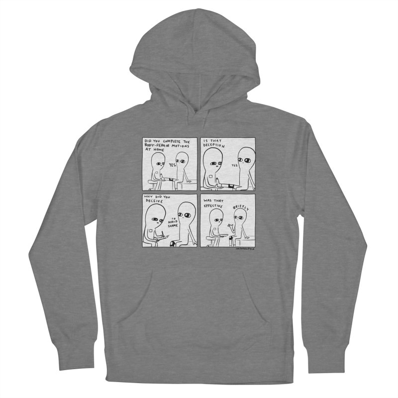 STRANGE PLANET BLACK AND WHITE: BODY REPAIR MOTIONS / IS THAT DECEPTION Women's Pullover Hoody by Nathan W Pyle