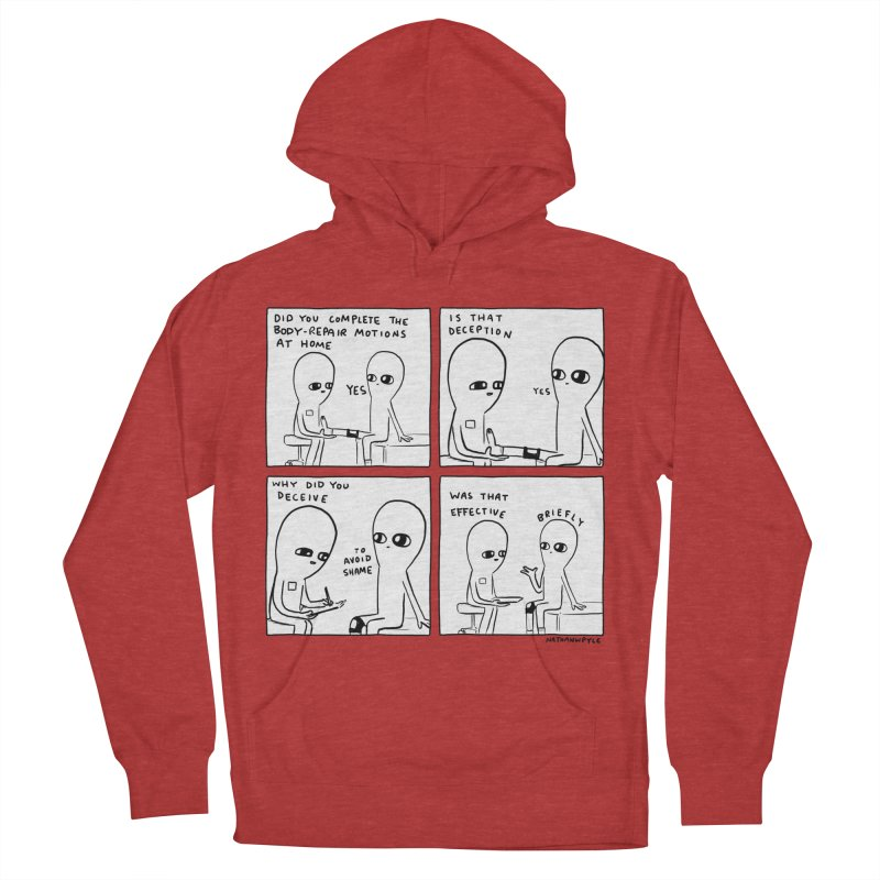 STRANGE PLANET BLACK AND WHITE: BODY REPAIR MOTIONS / IS THAT DECEPTION Women's French Terry Pullover Hoody by Nathan W Pyle