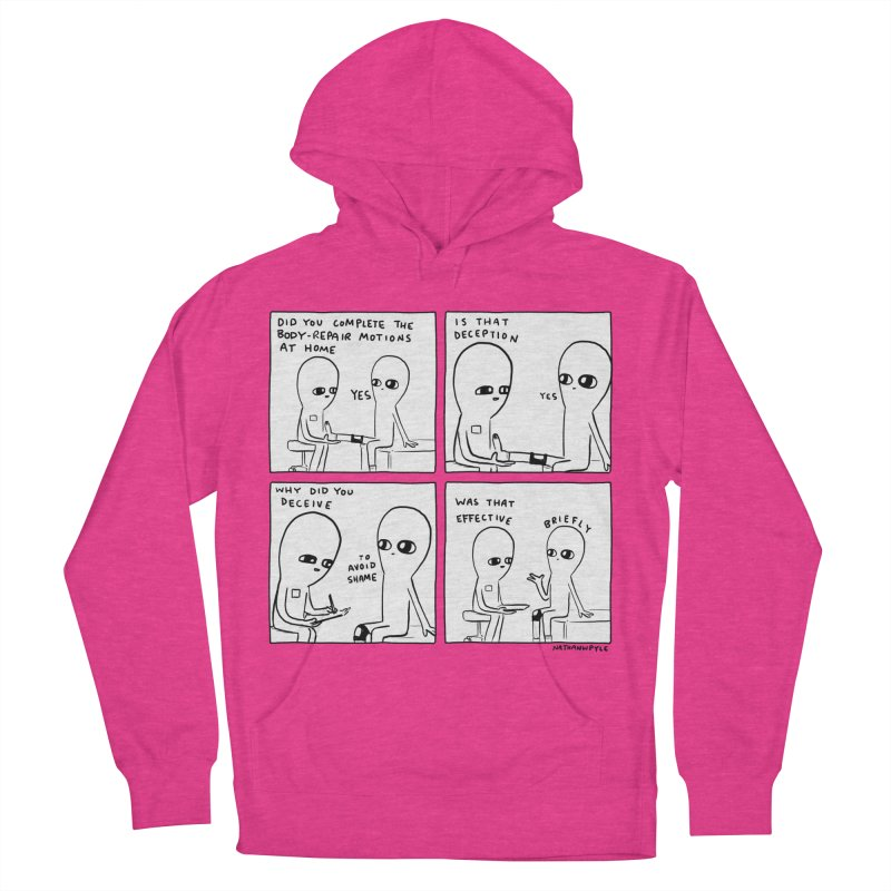 STRANGE PLANET BLACK AND WHITE: BODY REPAIR MOTIONS / IS THAT DECEPTION Men's French Terry Pullover Hoody by Nathan W Pyle