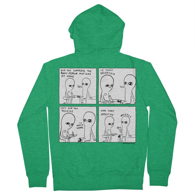 STRANGE PLANET BLACK AND WHITE: BODY REPAIR MOTIONS / IS THAT DECEPTION Women's Zip-Up Hoody by Nathan W Pyle