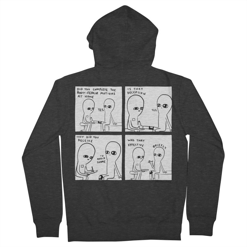 STRANGE PLANET BLACK AND WHITE: BODY REPAIR MOTIONS / IS THAT DECEPTION Women's French Terry Zip-Up Hoody by Nathan W Pyle