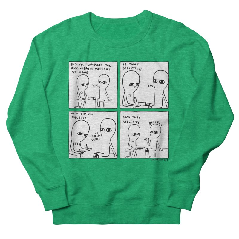 STRANGE PLANET BLACK AND WHITE: BODY REPAIR MOTIONS / IS THAT DECEPTION Women's Sweatshirt by Nathan W Pyle