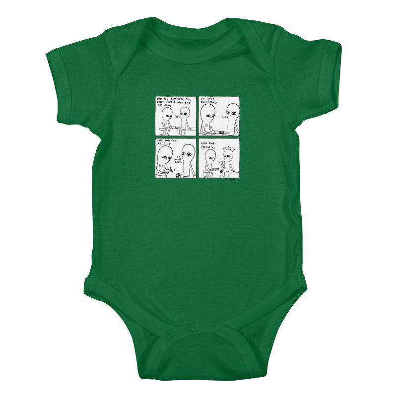 STRANGE PLANET BLACK AND WHITE: BODY REPAIR MOTIONS / IS THAT DECEPTION Kids Baby Bodysuit by Nathan W Pyle