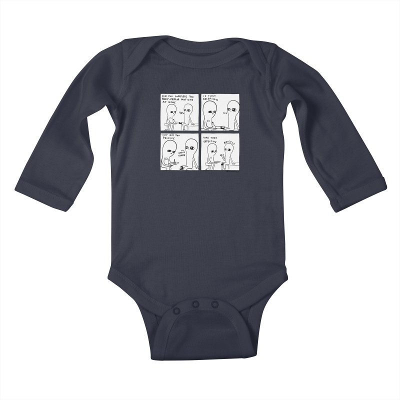 STRANGE PLANET BLACK AND WHITE: BODY REPAIR MOTIONS / IS THAT DECEPTION Kids Baby Longsleeve Bodysuit by Nathan W Pyle
