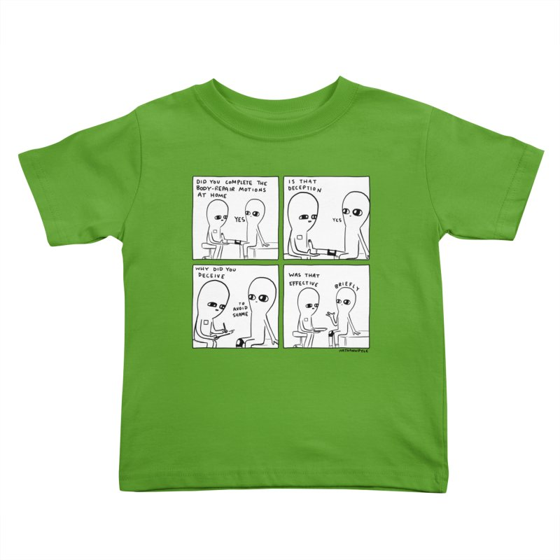 STRANGE PLANET BLACK AND WHITE: BODY REPAIR MOTIONS / IS THAT DECEPTION Kids Toddler T-Shirt by Nathan W Pyle