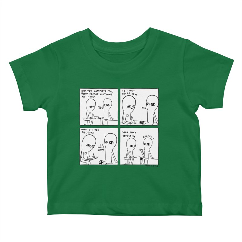 STRANGE PLANET BLACK AND WHITE: BODY REPAIR MOTIONS / IS THAT DECEPTION Kids Baby T-Shirt by Nathan W Pyle