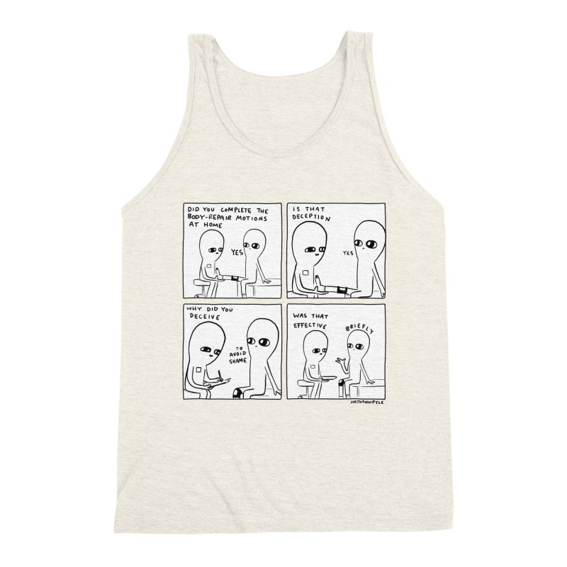 STRANGE PLANET BLACK AND WHITE: BODY REPAIR MOTIONS / IS THAT DECEPTION Men's Triblend Tank by Nathan W Pyle