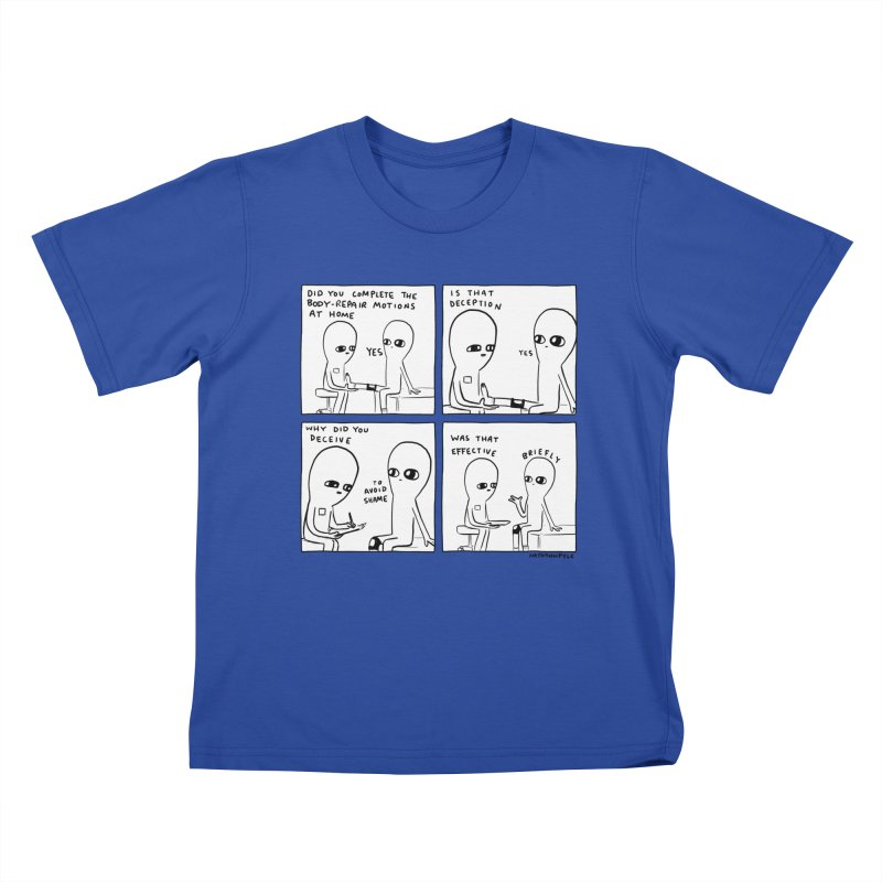 STRANGE PLANET BLACK AND WHITE: BODY REPAIR MOTIONS / IS THAT DECEPTION Kids T-Shirt by Nathan W Pyle