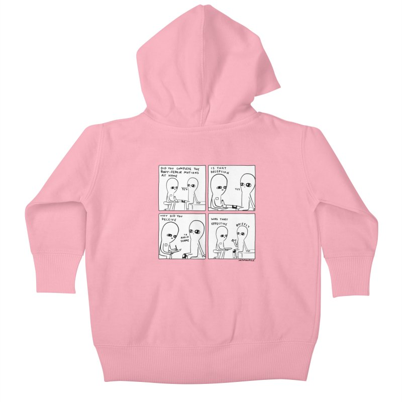 STRANGE PLANET BLACK AND WHITE: BODY REPAIR MOTIONS / IS THAT DECEPTION Kids Baby Zip-Up Hoody by Nathan W Pyle