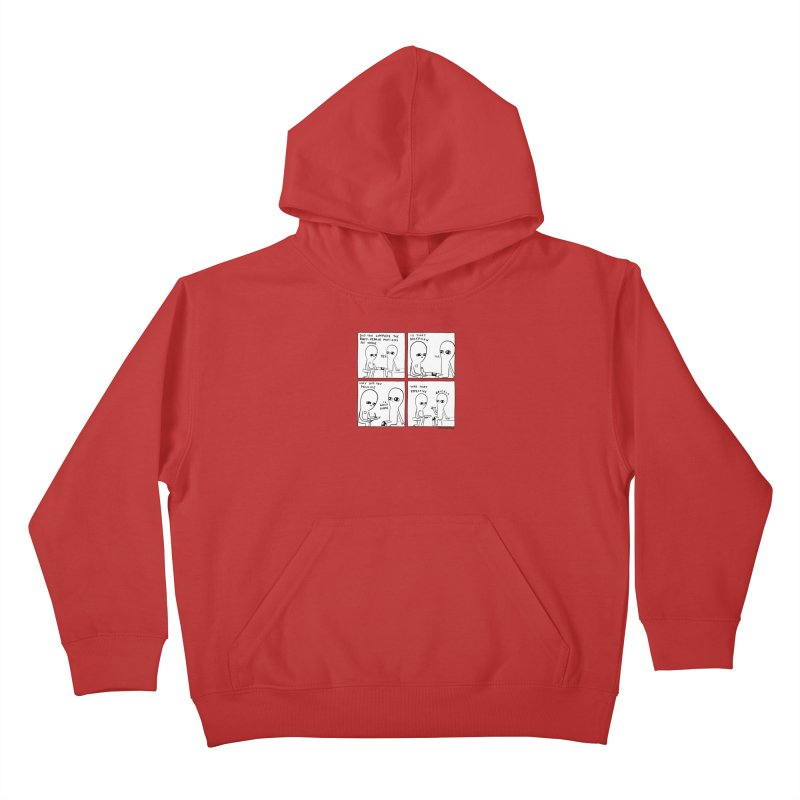 STRANGE PLANET BLACK AND WHITE: BODY REPAIR MOTIONS / IS THAT DECEPTION Kids Pullover Hoody by Nathan W Pyle