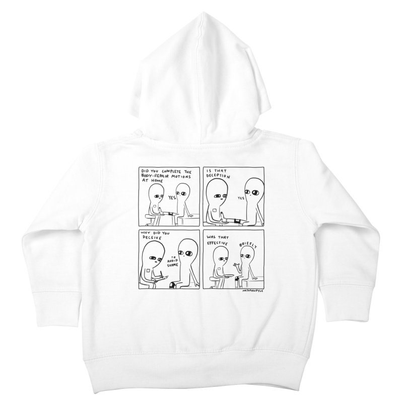 STRANGE PLANET BLACK AND WHITE: BODY REPAIR MOTIONS / IS THAT DECEPTION Kids Toddler Zip-Up Hoody by Nathan W Pyle