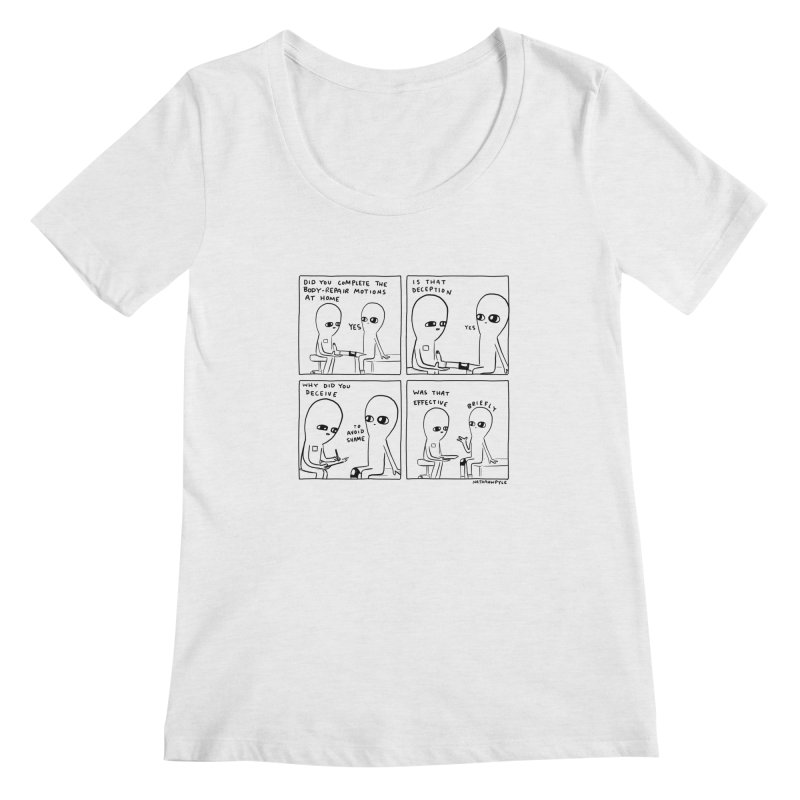 STRANGE PLANET BLACK AND WHITE: BODY REPAIR MOTIONS / IS THAT DECEPTION Women's Scoop Neck by Nathan W Pyle