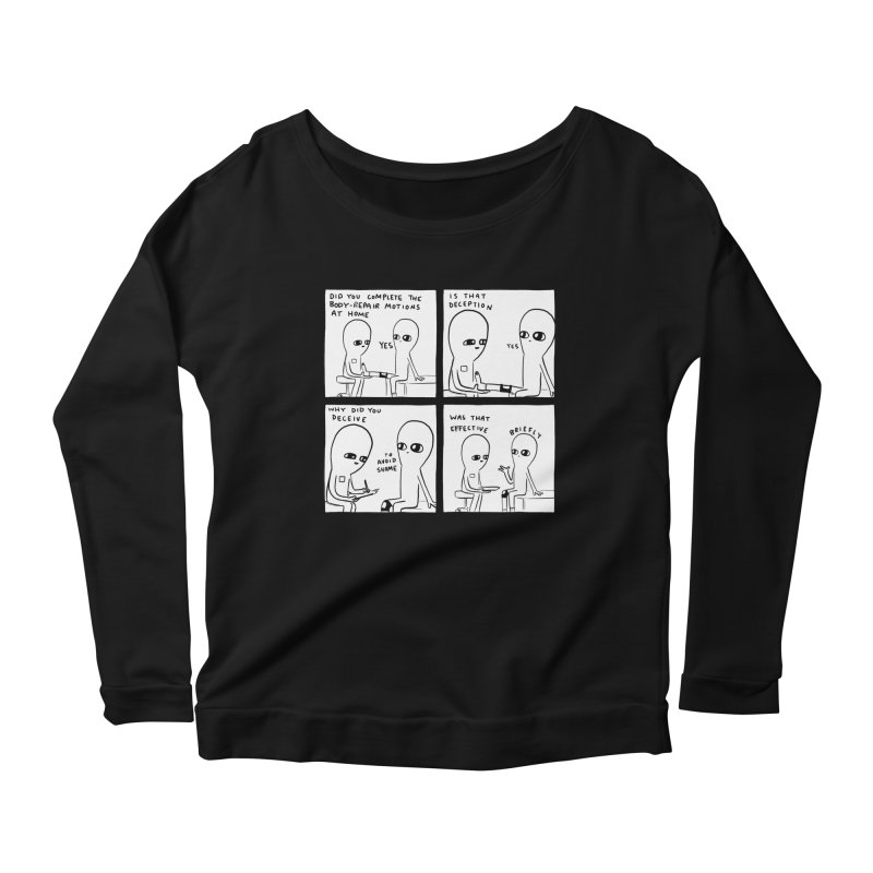 STRANGE PLANET BLACK AND WHITE: BODY REPAIR MOTIONS / IS THAT DECEPTION Women's Scoop Neck Longsleeve T-Shirt by Nathan W Pyle