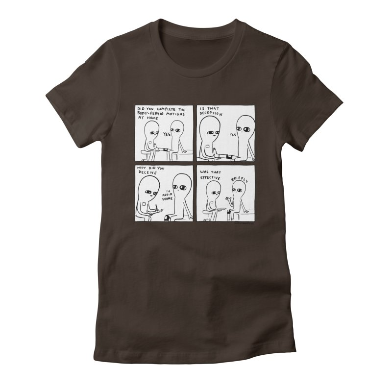 STRANGE PLANET BLACK AND WHITE: BODY REPAIR MOTIONS / IS THAT DECEPTION Women's T-Shirt by Nathan W Pyle