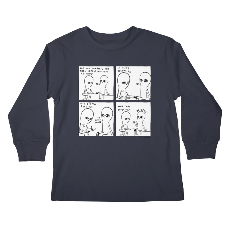 STRANGE PLANET BLACK AND WHITE: BODY REPAIR MOTIONS / IS THAT DECEPTION Kids Longsleeve T-Shirt by Nathan W Pyle