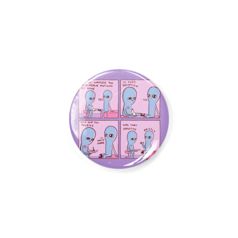 STRANGE PLANET PURPLE BORDER: BODY REPAIR MOTIONS / IS THAT DECEPTION Accessories Button by Nathan W Pyle