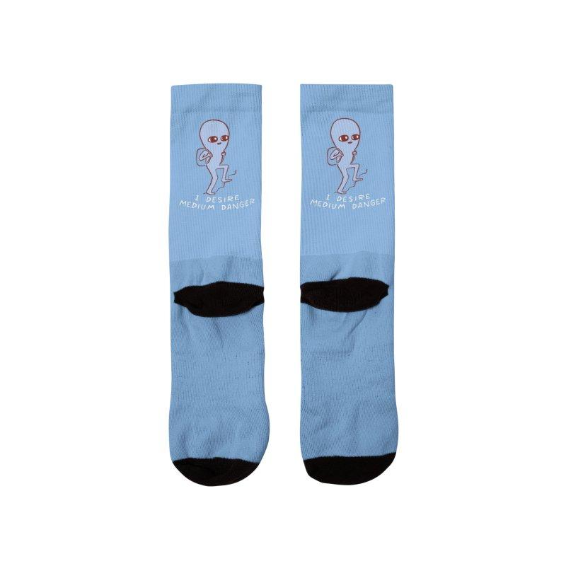 STRANGE PLANET SPECIAL PRODUCT: I DESIRE MEDIUM DANGER Men's Socks by Nathan W Pyle