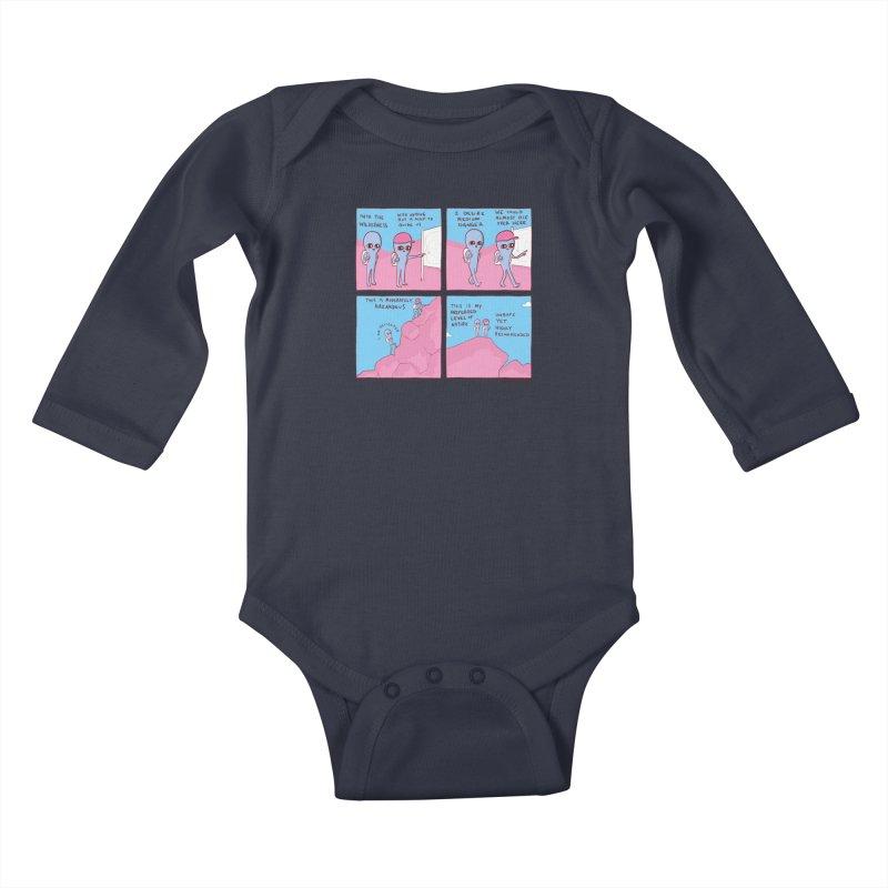STRANGE PLANET: I DESIRE MEDIUM DANGER Kids Baby Longsleeve Bodysuit by Nathan W Pyle Shop   Strange Planet Store   Thread