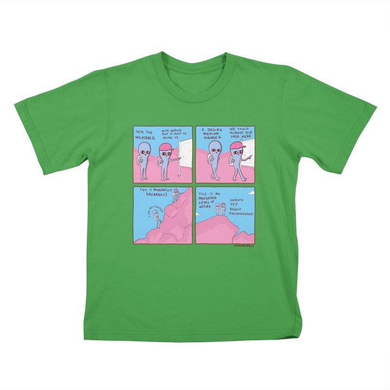STRANGE PLANET: I DESIRE MEDIUM DANGER Kids T-Shirt by Nathan W Pyle Shop   Strange Planet Store   Thread