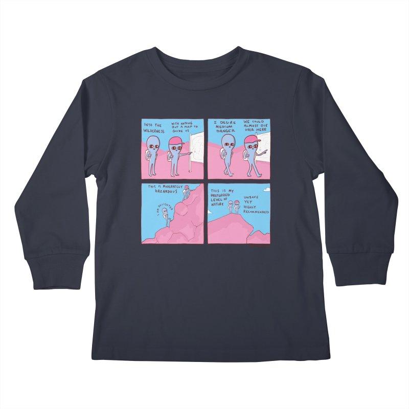 STRANGE PLANET: I DESIRE MEDIUM DANGER Kids Longsleeve T-Shirt by Nathan W Pyle Shop   Strange Planet Store   Thread