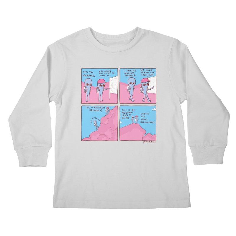 STRANGE PLANET: I DESIRE MEDIUM DANGER Kids Longsleeve T-Shirt by Nathan W Pyle